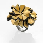 Firework ring - silver, pure gold, niello, patina
