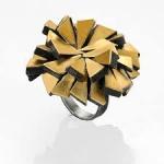 Firework ring - silver, pure gold, niello, patina