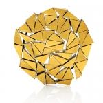 Labyrinth brooch - silver, pure gold, niello, patina