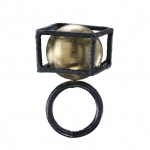 Encounter- ring - 18kt yellow gold,silver, niello, patina 2014