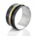 Round midnight - bracelet - silver, 18kt yellow gold, niello, patina. 2014